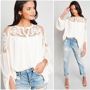 Cream Lace Sheer Tie Front Peasant Boho Top Blouse